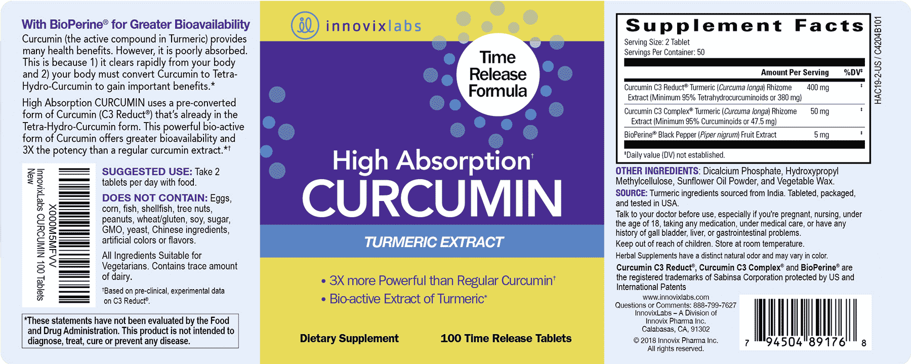 High Absorption Curcumin label