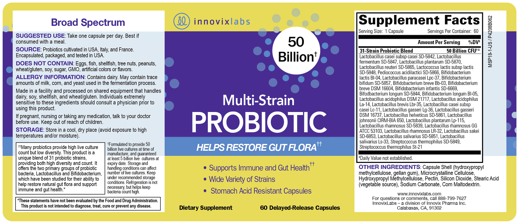 Product label for Multi-Strain PROBIOTIC