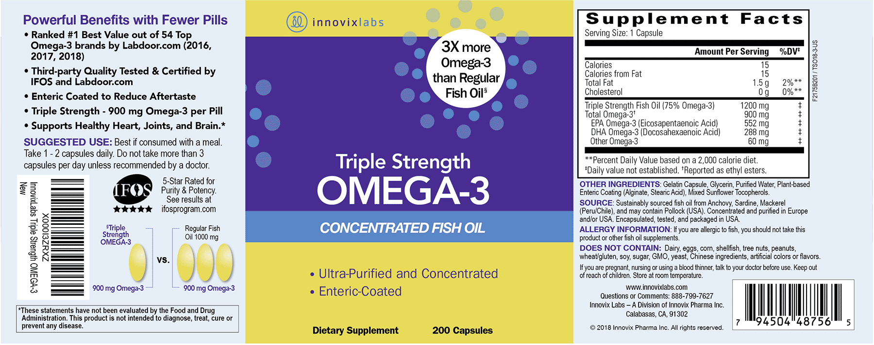 Triple Strength Omega-3 product label