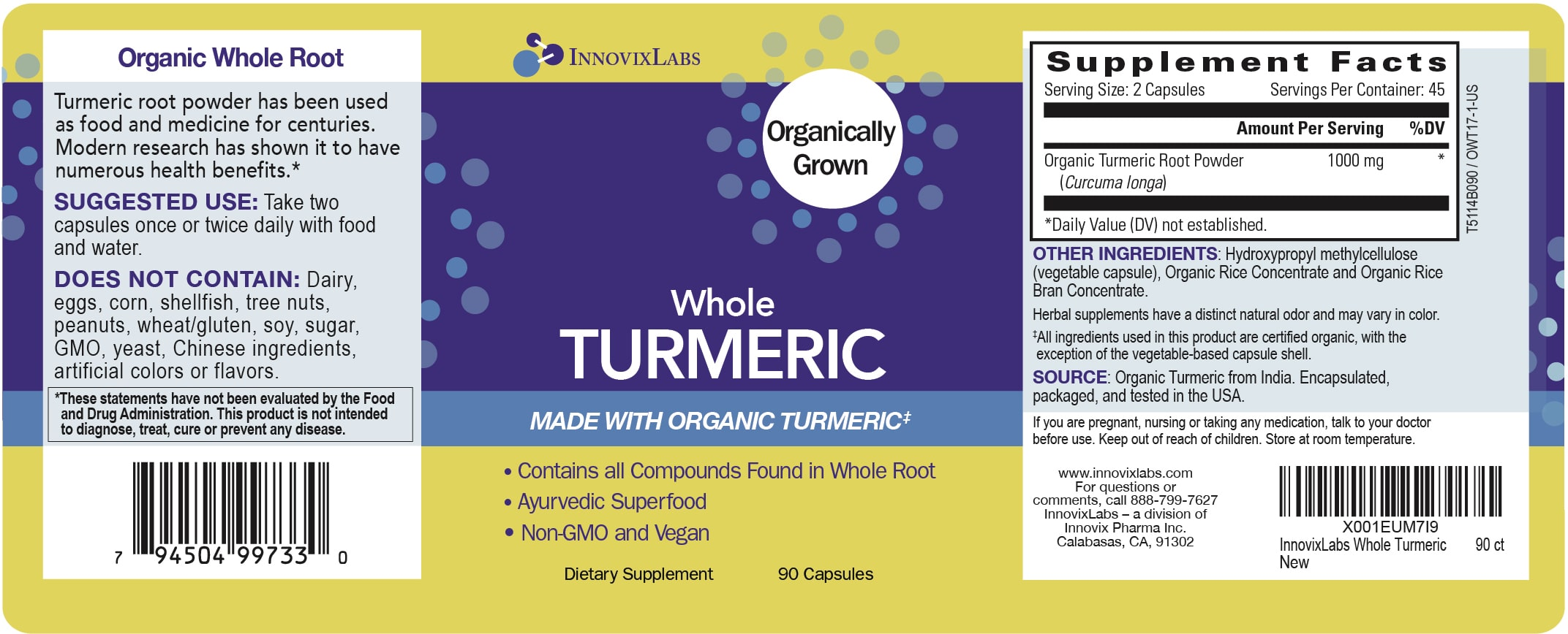 Whole Tumeric label