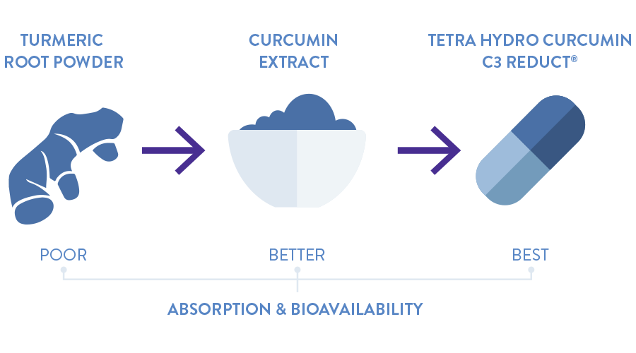 Turmeric root power becomes curcumin extract which becomes Tetra Hydro Curcumin C3 Reduct. Each phase gets better at absorption and bioavailability.