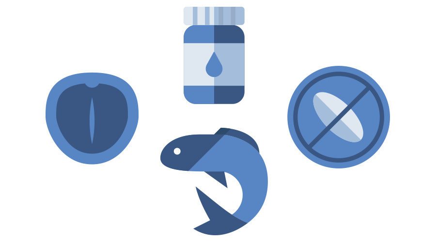 Icon of macadamia nut, fish and pill bottle