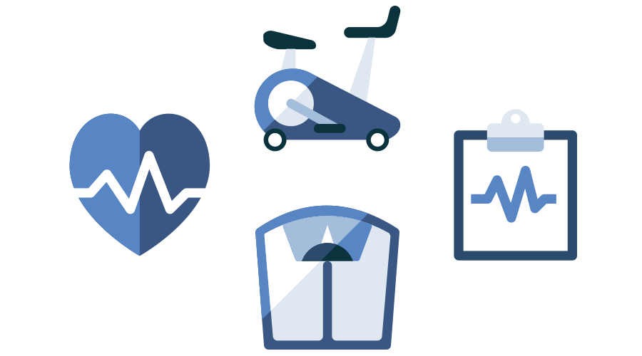 Icon of stationary bike, heart rate, scale and clipboard