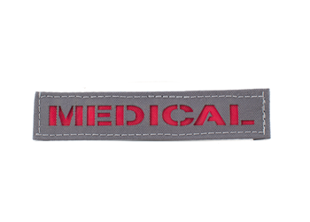 Laser Cut Name Tape - Colored Manatee Grey With Red