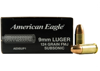 Federal American Eagle Suppressor 9MM 124 Grain FMJ AE9SUP1