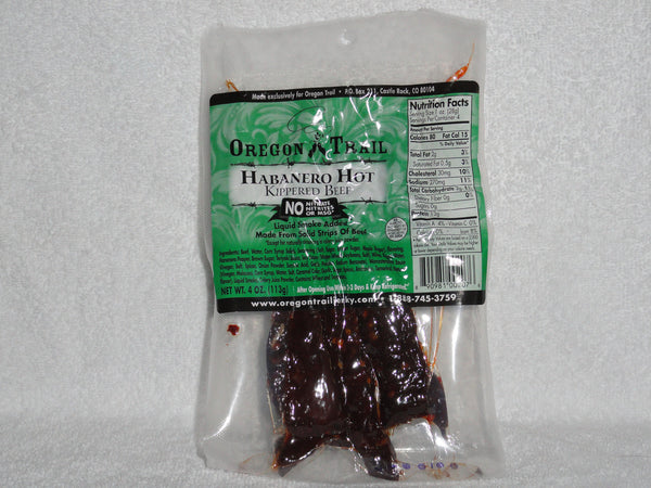Habanero Hot Kippered Beef Jerky 4 oz package