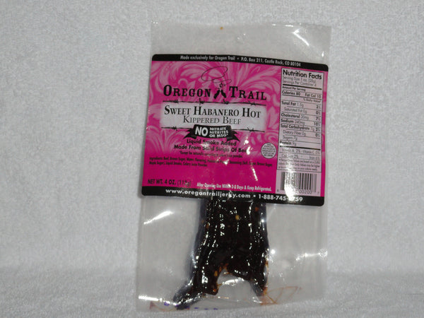 Sweet Habanero Hot Kippered Beef Jerky 4 oz package