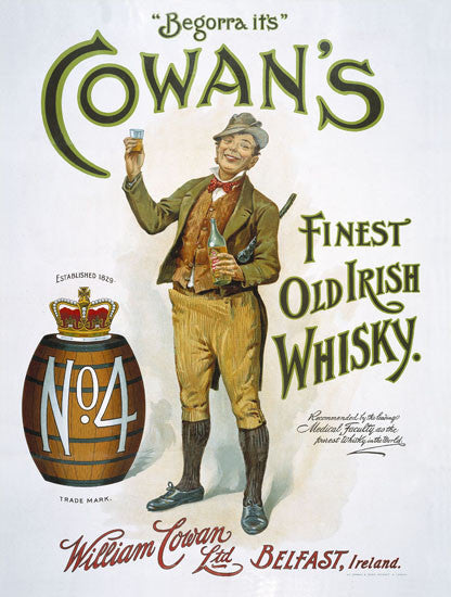 Cowan's Old Irish Whisky (man w/keg)