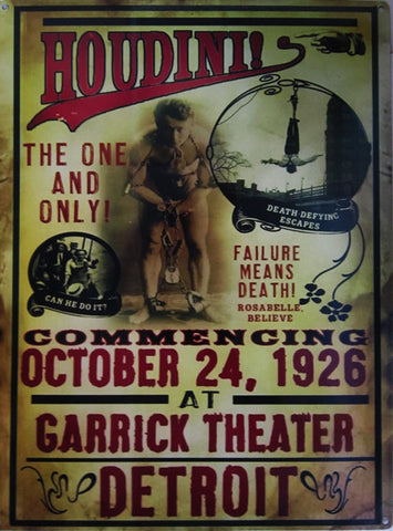 Houdini-Garrick Theater Metal Sign