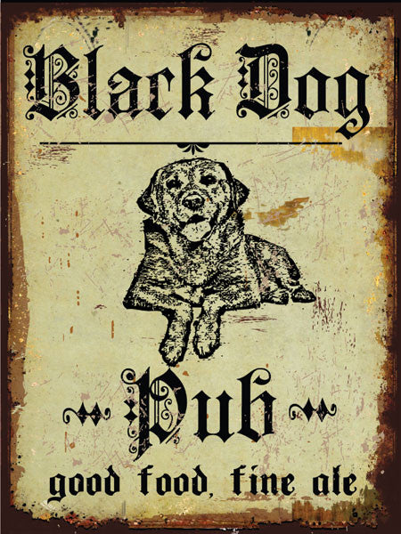 Black Dog Pub Metal Sign