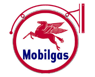 Mobilgas Double-Sided Hanging Round Sign