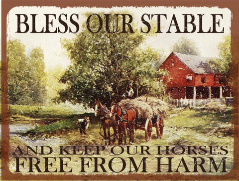 Bless Our Stable Metal Sign