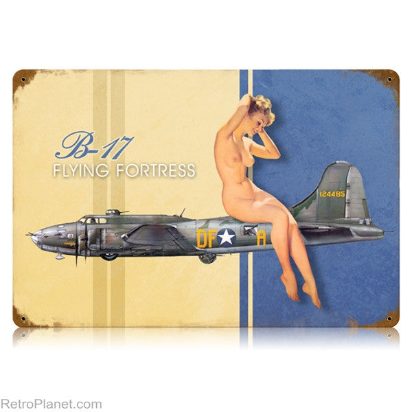 B-17 Flying Fortress Pin-Up Metal Wall Sign