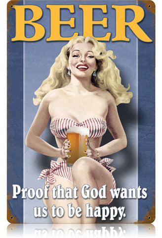 Beer  Pin-Up Metal Sign