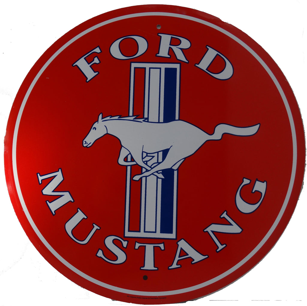 "Ford Mustang 12"" Round Sign"