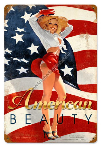American Beauty Metal Sign