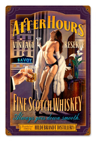 After Hours Fine Scotch Whiskey Metal Sign