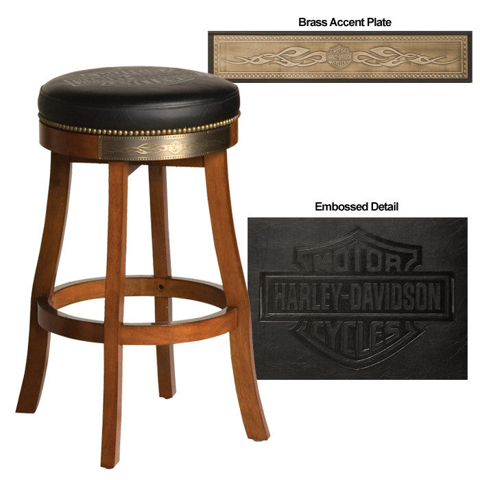 H-D® Bar & Shield Flames Barstool w/ Heritage Brow