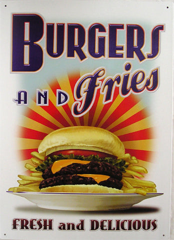 Burgers and Fries Metal Sign