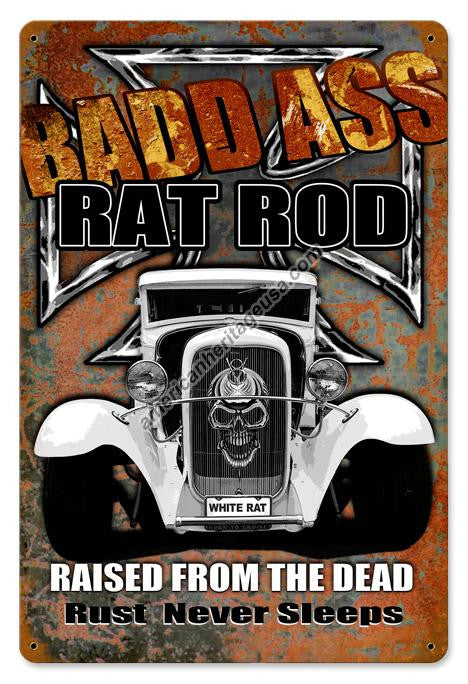 Bad Ass Rat Road Vintage Metal Sign