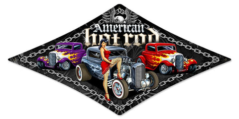 American Hot Rod Triangle Metal Sign