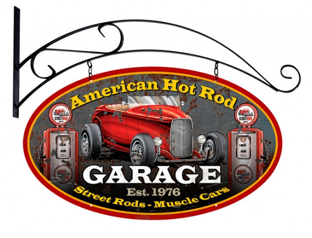 American Hot Rod Double Sided Oval Metal Sign with