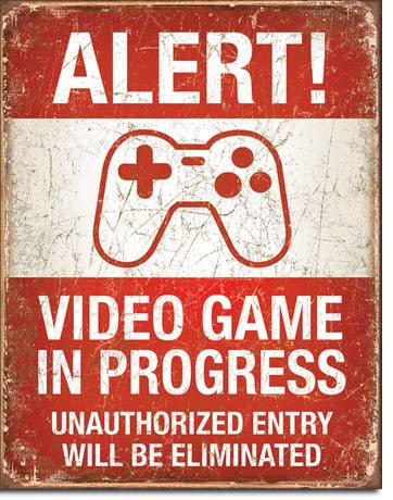 Alert Video Game Controller Metal Sign