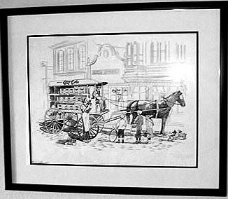 "Lee Dubin Framed Original Colored ""Coca-Cola Wagon"""