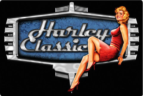Harley Classic Embossed Metal Sign
