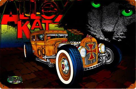Alley Cat Rat Rod Metal Sign