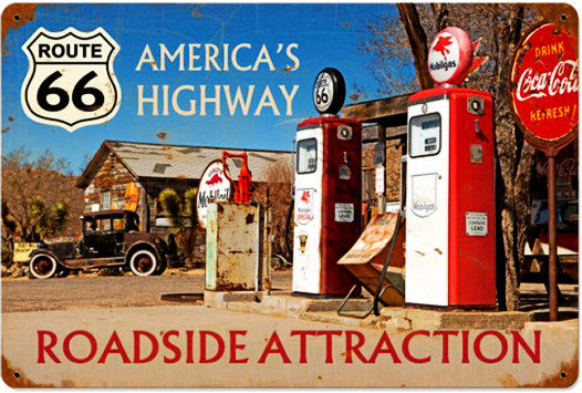 Americas Highway Route 66 Vintage Metal Sign