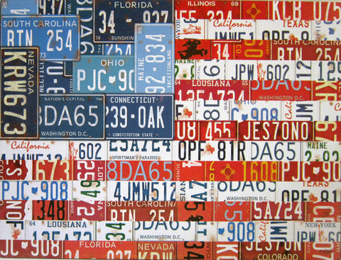 License Plate American Flag Iron Sign