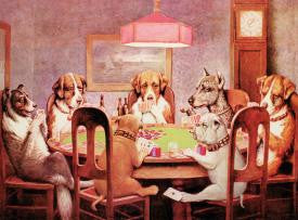 7 Dogs Playing Poker