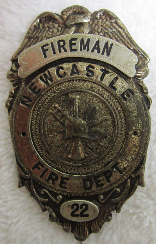 """Fireman Newcastle Fire Dept #22"" Badge"