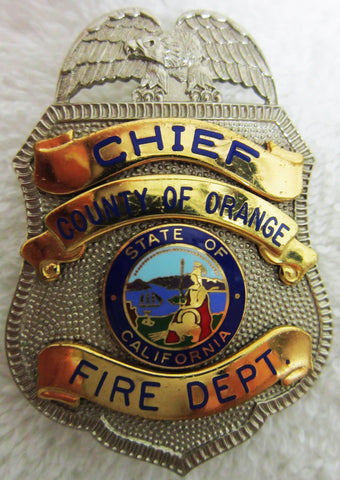 """Chief-County Of Orange-Fire Dept"" Badge"