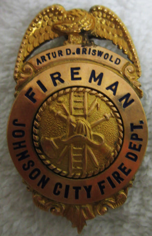 """Fireman Johnson City Fire Dept"" Badge"