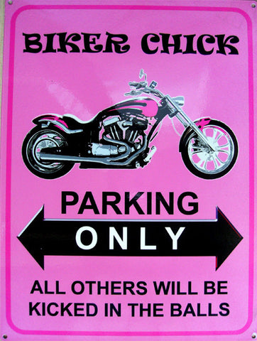 Biker Chick Metal Sign
