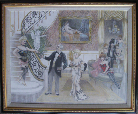 "Lee Dubin Framed Original Colored Pencil ""Bourdello"""