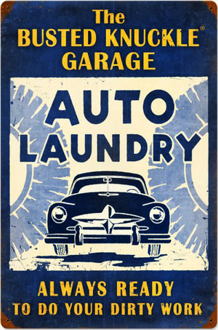 "Auto Laundry Vintage (24"" by 16"" metal sign)"