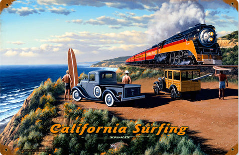 California Surfing Metal Sign