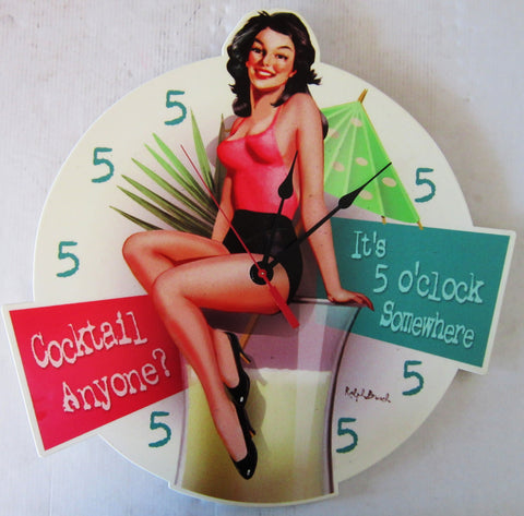 5 O'Clock Cocktails Plasma Cut Pin-Up Clock