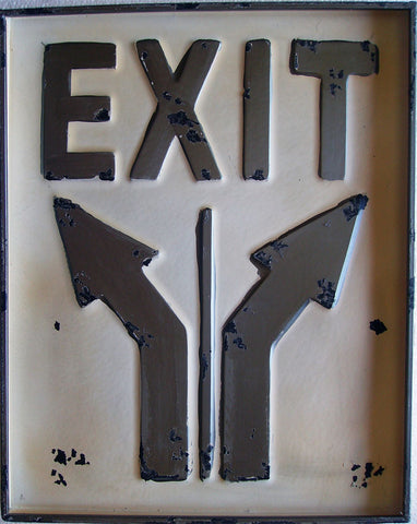 "Exit Rustic Metal Sign 20"" by 16"""
