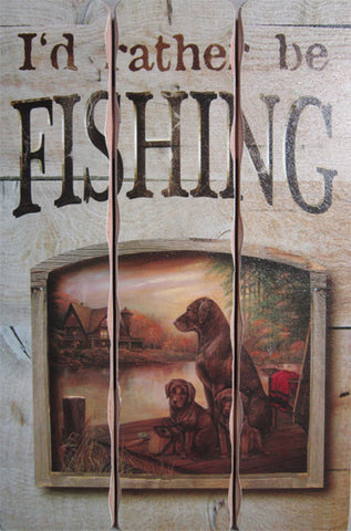 Fishing (Plank Wood Sign)