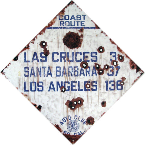 Coast Route Las Cruces through Los Angeles - Auto Club So. Cal. Metal Sign