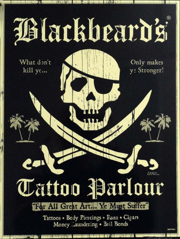 Blackbeard's Tattoo Parlour Metal Sign