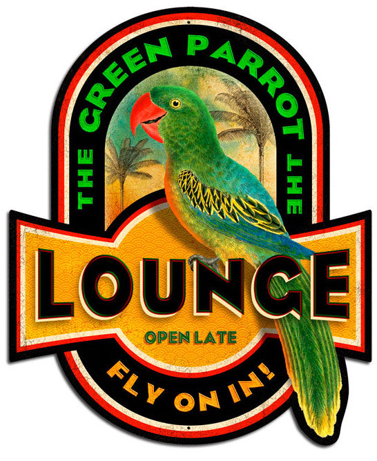Green Parrot Lounge Plasma Cut Sign