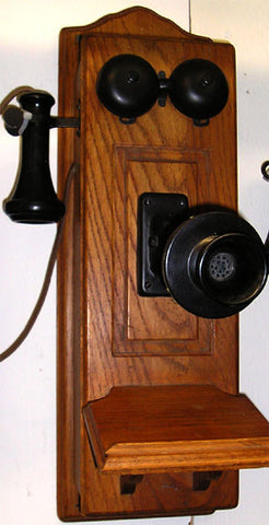 Oak Raised Panel Wall Telephone-Reissue