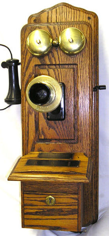 Oak Raise Panel Wall Telephone-Reissue