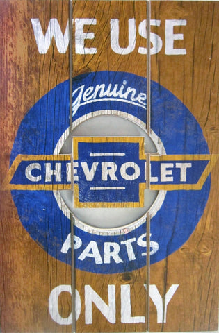 Chevrolet-Genuine Parts (Plank Wood Sign)