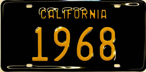 California Black/Yellow Plate 1968